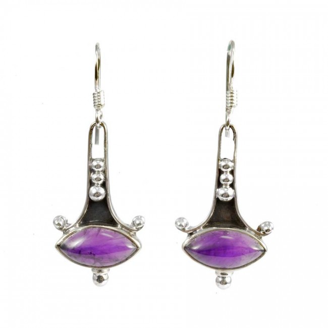 Boucles d'oreilles argent avec pierres ovales - PIERRES NATURELLES - Boutique Nirvana