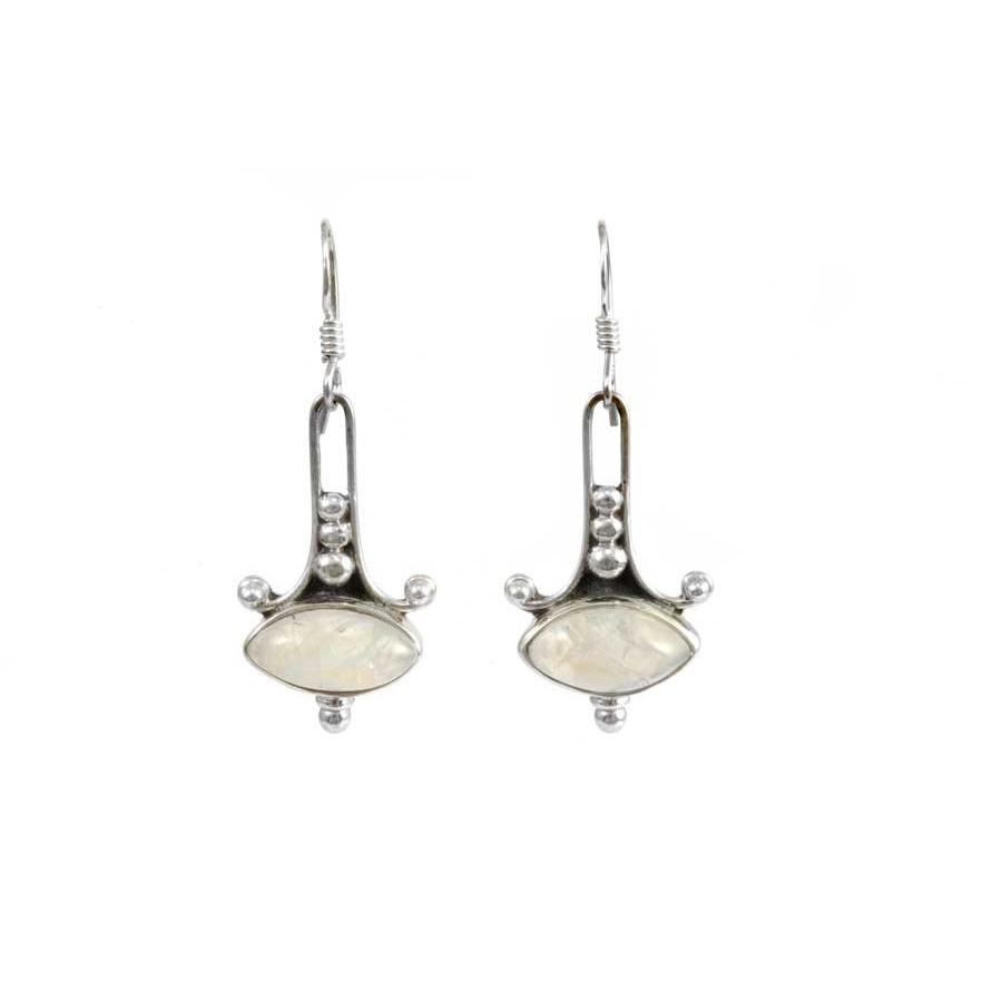 Indian Silver Gemstone Earrings - Mineral Gemstones - Boutique Nirvana