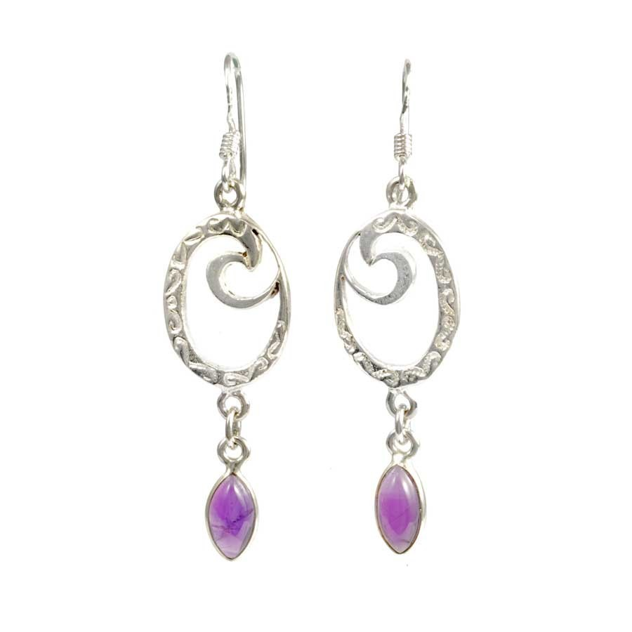 Silver and Stone Spiral Earrings - Mineral Gemstones - Boutique Nirvana