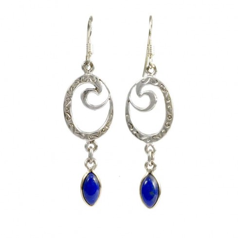 Boucles d'oreilles spirale et pierre pendante - PIERRES NATURELLES - Boutique Nirvana