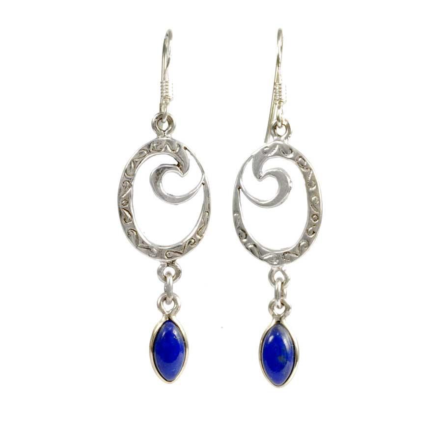 boucle oreille argent lapis lazuli