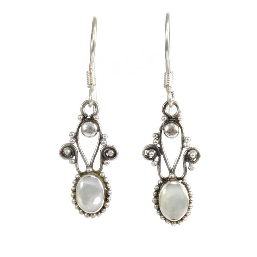 Boucles d'oreilles argent filigrane et pierre - BOUCLES ARGENT - Boutique Nirvana