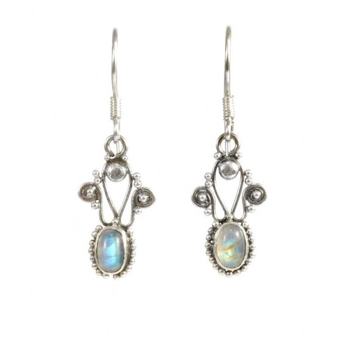 Vintage Natural Stone Drop Earrings - SILVER EARRINGS - Boutique Nirvana