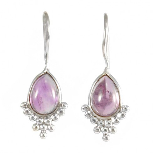 Gemstone and Silver Drop Earrings - SILVER EARRINGS - Boutique Nirvana