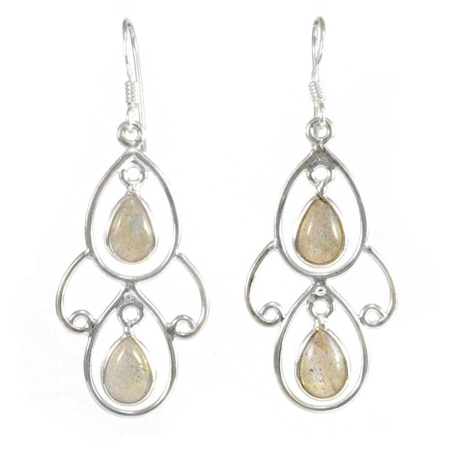 Elegant Two-Stone Drop Earrings - Mineral Gemstones - Boutique Nirvana