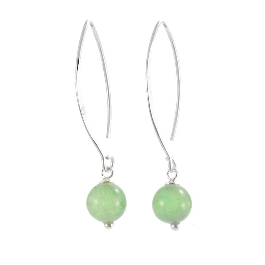 Silver Swan Neck Gemstone Earrings - SILVER EARRINGS - Boutique Nirvana