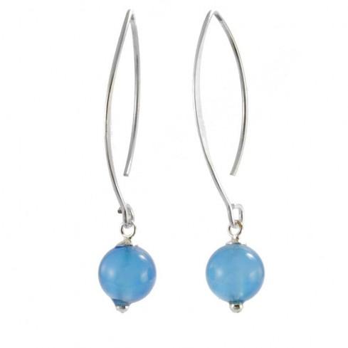 Boucles d'oreilles argent col de cygne avec pierre ronde - BOUCLES ARGENT - Boutique Nirvana