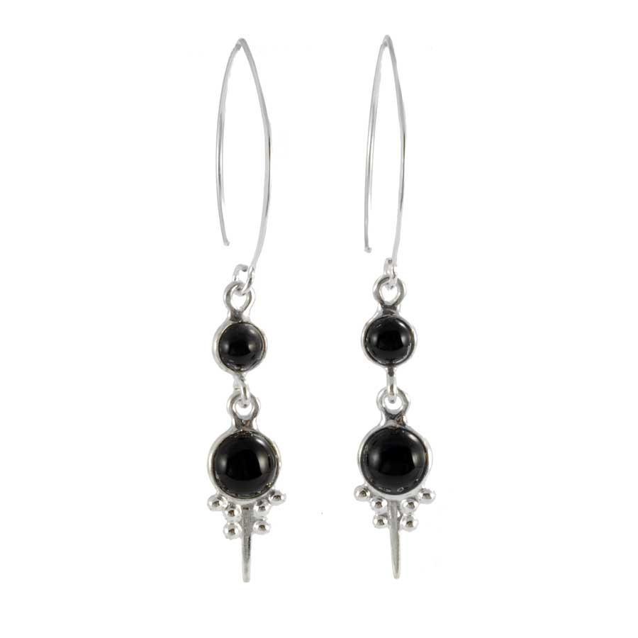 Boucles d'oreilles argent col de cygne avec deux pierres - BOUCLES ARGENT - Boutique Nirvana