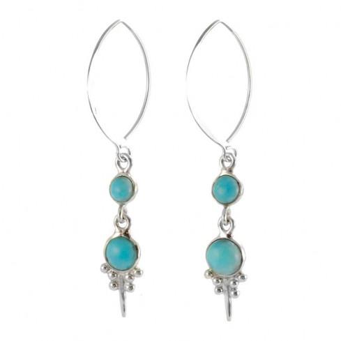 Boucles d'oreilles argent turquoise pierres