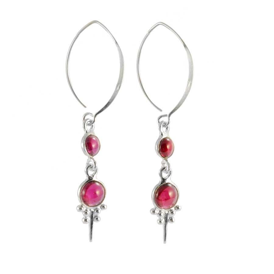 Graceful Swan Neck Two-Stone Earrings - SILVER EARRINGS - Boutique Nirvana