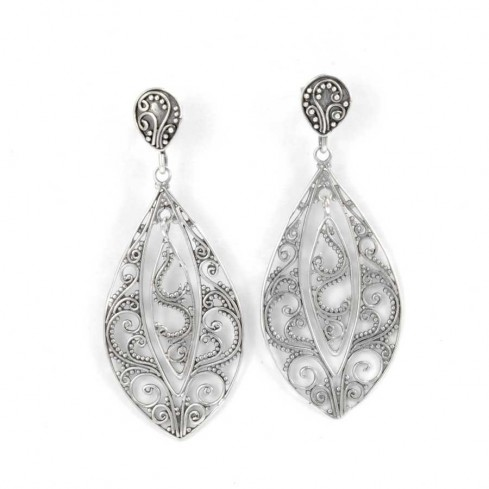 Sterling Silver Filigree Earrings - SILVER EARRINGS - Boutique Nirvana