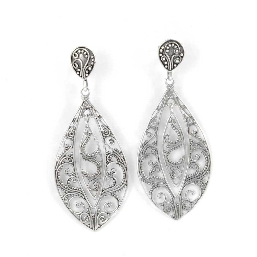 Sterling Silver Filigree Earrings - SILVER EARRINGS - Boutique Nirvana