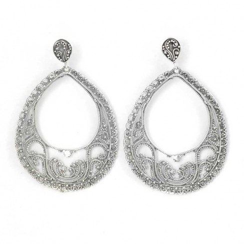 Beautiful Silver Filigree Stud Earrings - SILVER EARRINGS - Boutique Nirvana
