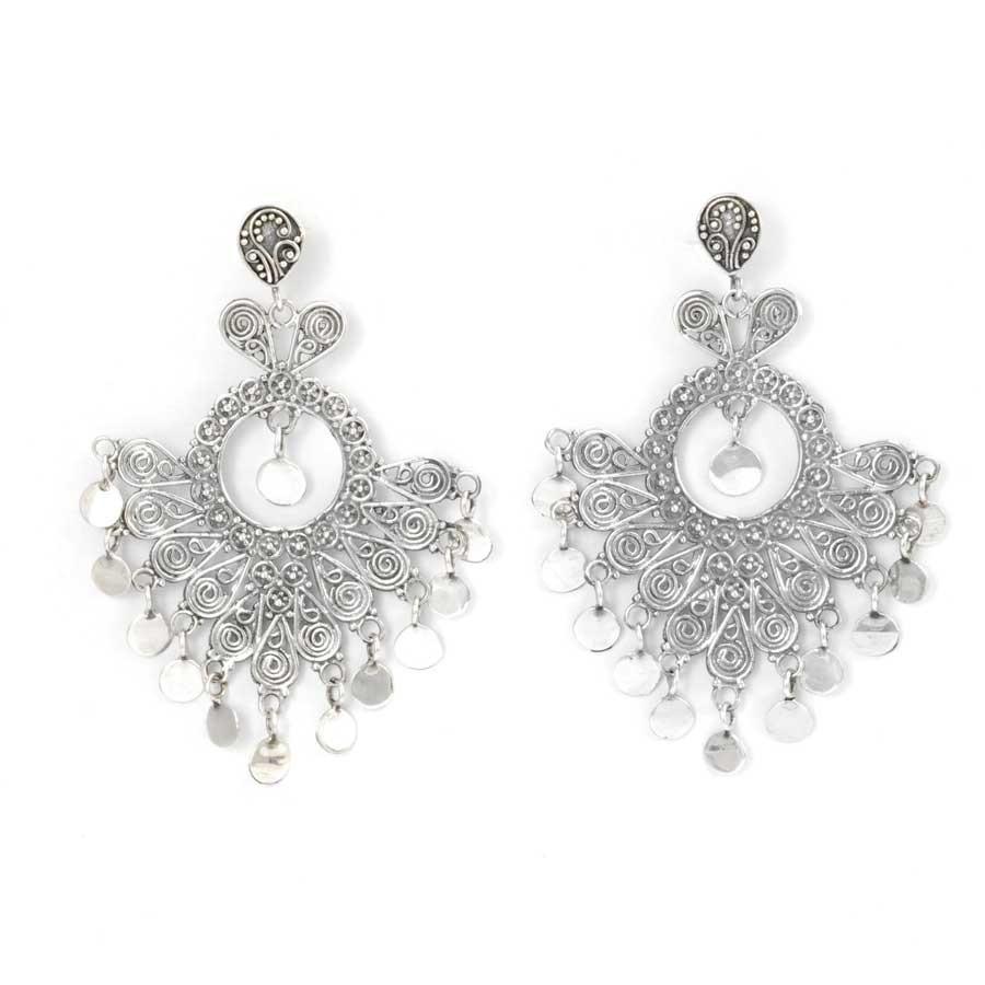 Silver Filigree Fan Earrings - SILVER EARRINGS - Boutique Nirvana