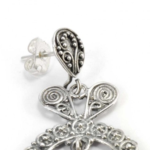 Silver Filigree Fan Earrings - SILVER EARRINGS - Boutique Nirvana