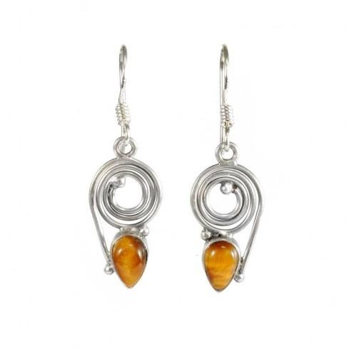 Boucles d'oreilles spirales et pierre en goutte - BOUCLES ARGENT - Boutique Nirvana