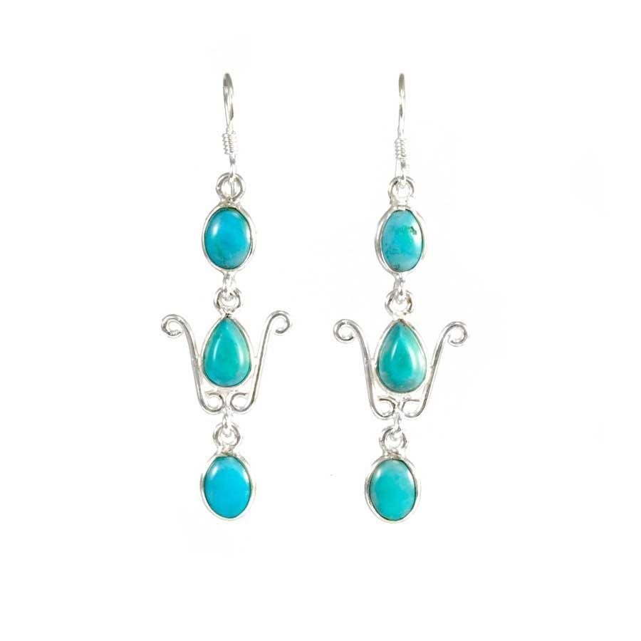 Elegant Three-Stone Drop Earrings - SILVER EARRINGS - Boutique Nirvana