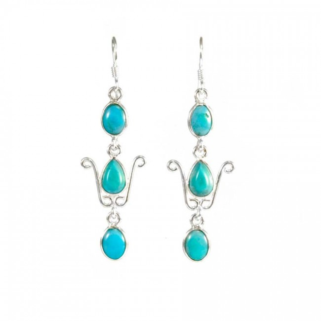 Elegant Three-Stone Drop Earrings - SILVER EARRINGS - Boutique Nirvana
