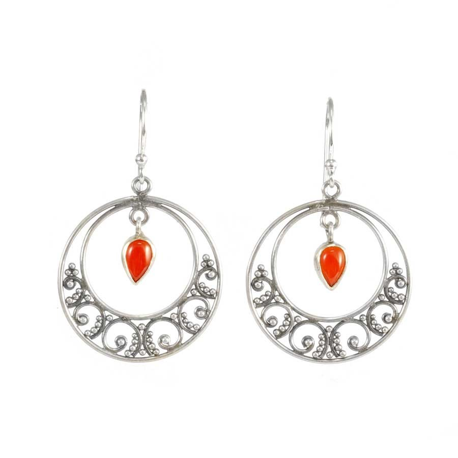 Circular Embellished Silver and Stone Earrings - SILVER EARRINGS - Boutique Nirvana