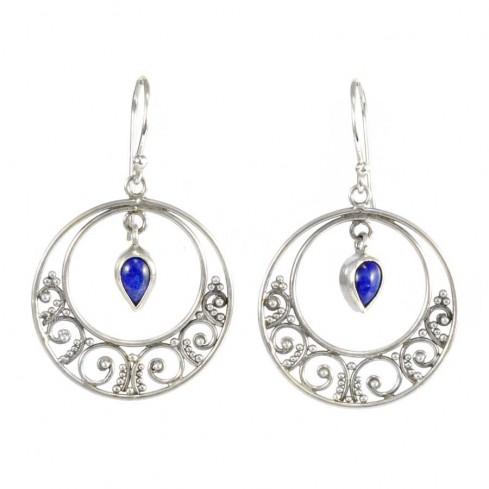 Boucles d'oreilles rondes argent nirvana lapis lazuli