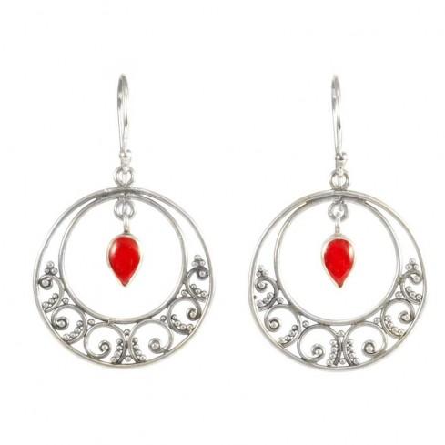 Boucles d'oreilles rondes en argent avec pierres pendantes - BOUCLES ARGENT - Boutique Nirvana