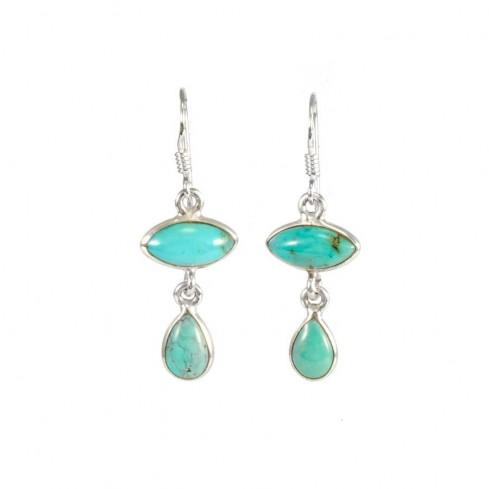 Boucles d'oreilles en argent avec deux pierres - BOUCLES ARGENT - Boutique Nirvana