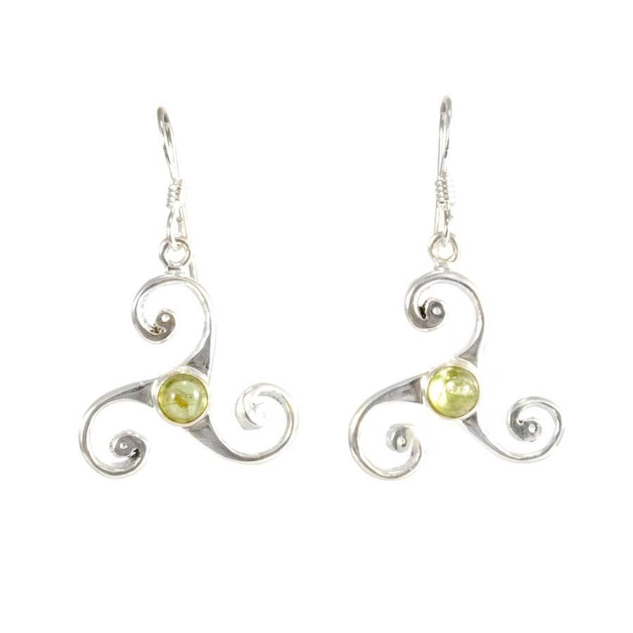 Boucles d'oreilles triskel en argent avec pierre