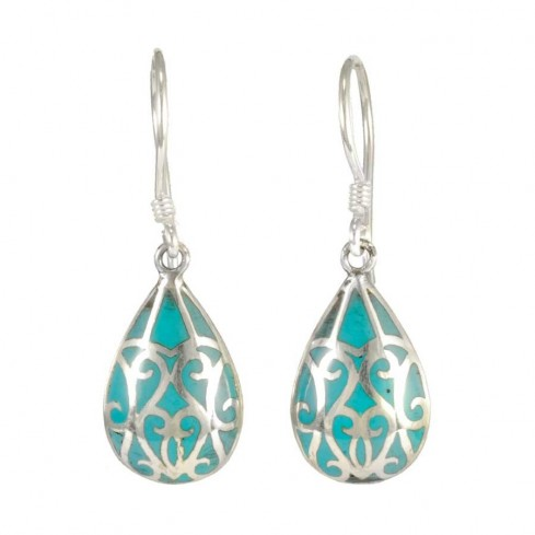 Silver Earrings with Colour Drop - BOUCLES ARGENT CORAIL & NACRE - Boutique Nirvana