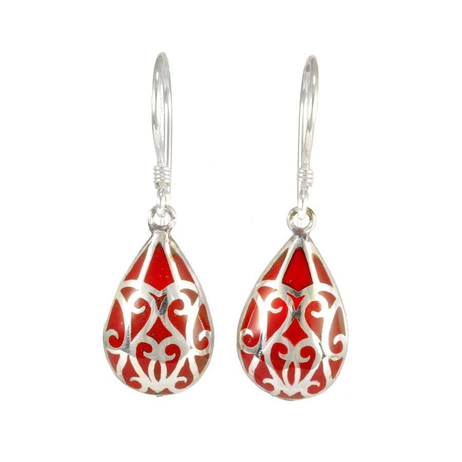 Silver Earrings with Colour Drop - BOUCLES ARGENT CORAIL & NACRE - Boutique Nirvana