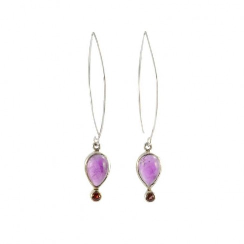 Teardrop Gemstone Earrings - SILVER EARRINGS - Boutique Nirvana
