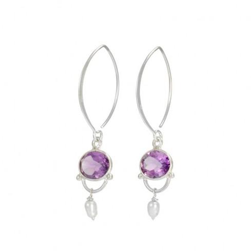 Boucles d'oreilles en argent pendantes avec pierre - BOUCLES ARGENT - Boutique Nirvana