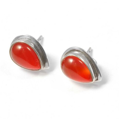 Teardrop Indian Gemstone Studs - SILVER EARRINGS - Boutique Nirvana