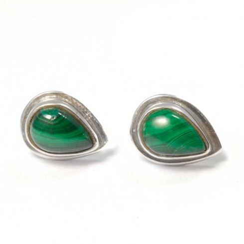 Teardrop Indian Gemstone Studs - SILVER EARRINGS - Boutique Nirvana