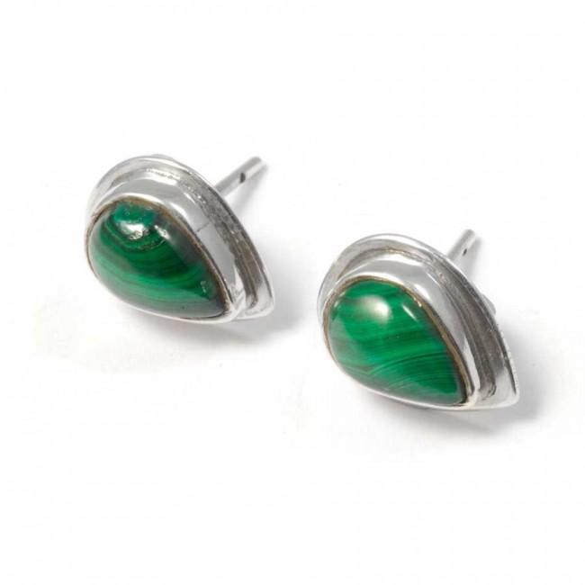 Boucles d'oreille pierre en goutte avec contour d'argent - BOUCLES ARGENT - Boutique Nirvana