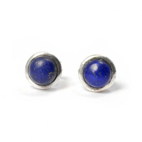 Boucles d'oreilles pierre ronde avec contour d'argent - BOUCLES ARGENT - Boutique Nirvana