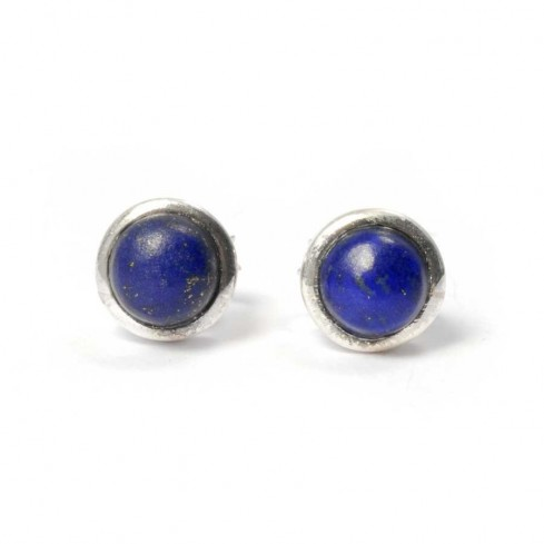 Round Indian Gemstone Studs - SILVER EARRINGS - Boutique Nirvana