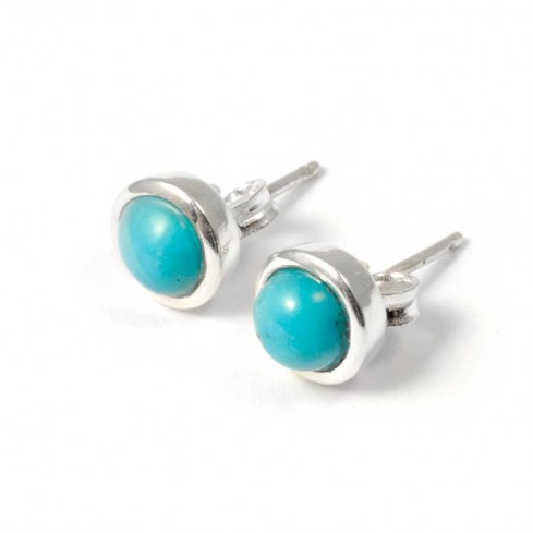 Round Indian Gemstone Studs - CLOUS D'OREILLES ARGENT - Boutique Nirvana