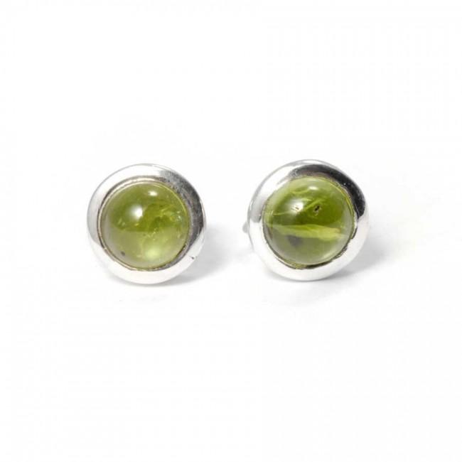 Round Indian Gemstone Studs - CLOUS D'OREILLES ARGENT - Boutique Nirvana