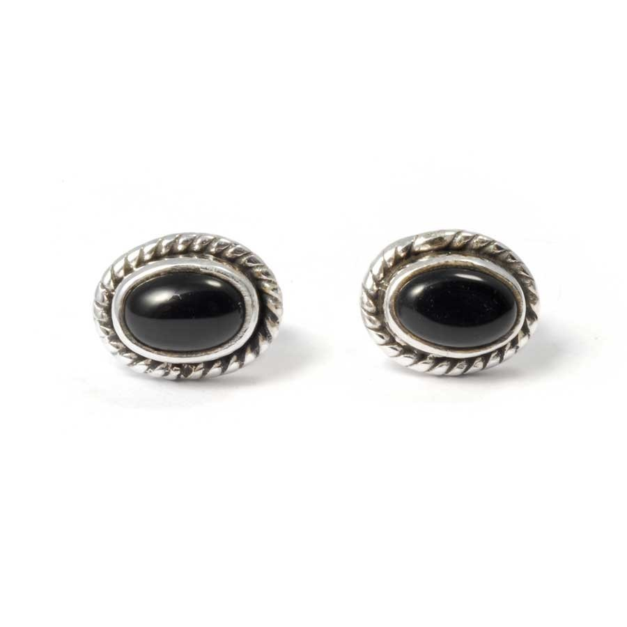 Oval Gemstone Studs with Silver Detailing - SILVER EARRINGS - Boutique Nirvana
