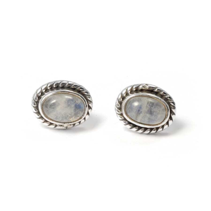 Boucles d'oreilles pierre ovale avec contour d'argent ornementé - BOUCLES ARGENT - Boutique Nirvana