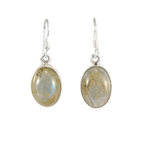 Boucles d'oreilles pierre ovale pendante avec contour d'argent