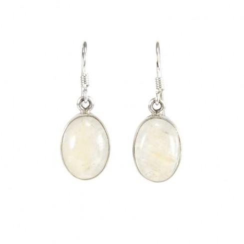 Oval Gemstone Dangle Earrings - Mineral Gemstones - Boutique Nirvana
