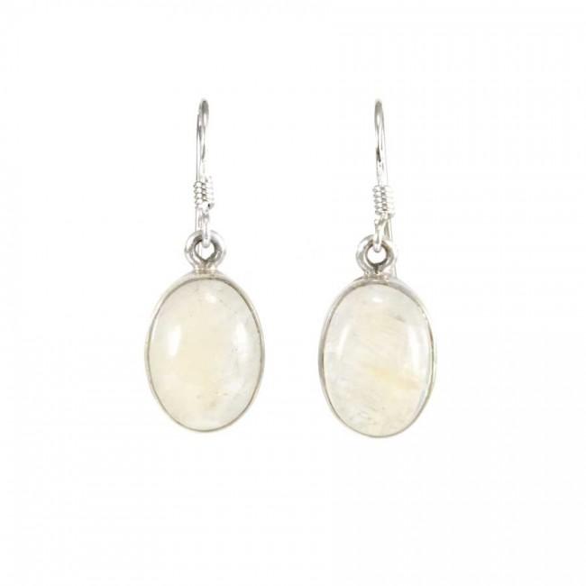 Boucles d'oreilles pierre ovale pendante avec contour d'argent - PIERRES NATURELLES - Boutique Nirvana