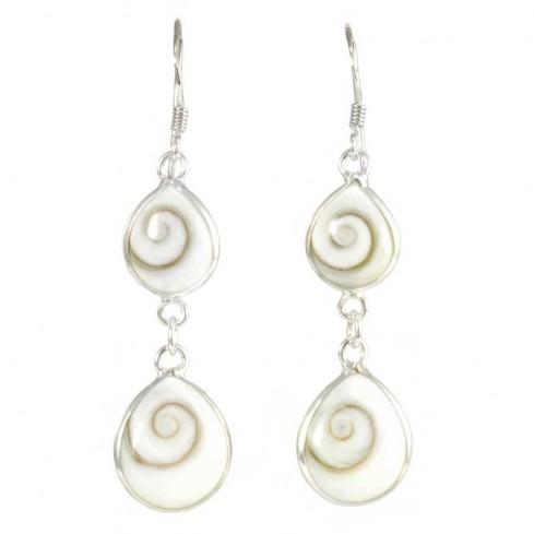 Boucles d'oreilles en argent avec 2 pierres Oeil de Ste Lucie pendantes - BOUCLES ARGENT - Boutique Nirvana