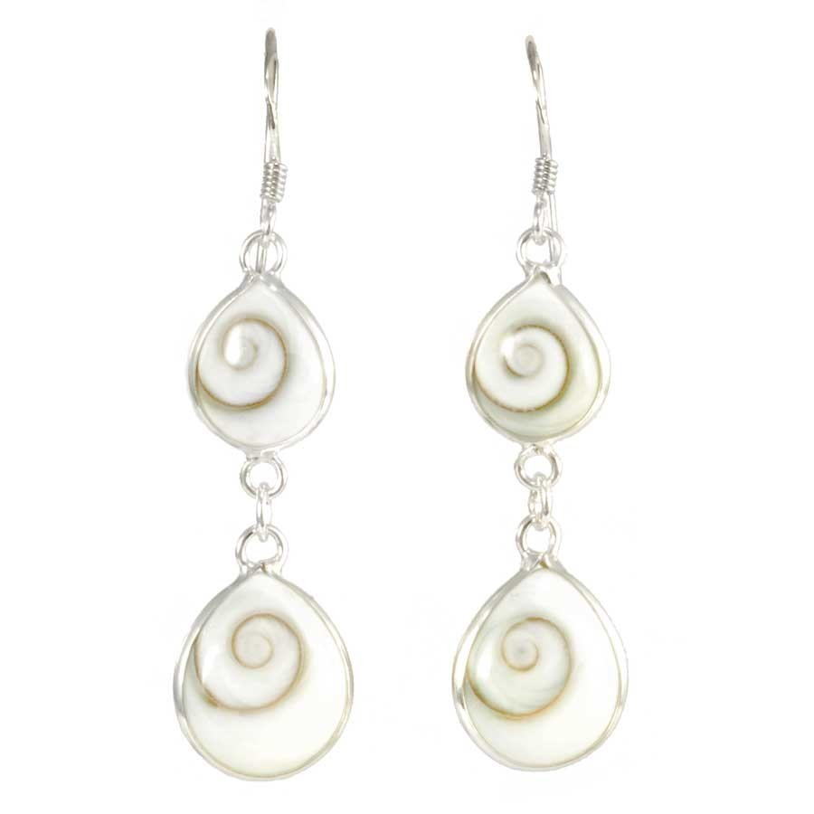 Boucles d'oreilles en argent avec 2 pierres Oeil de Ste Lucie pendantes
