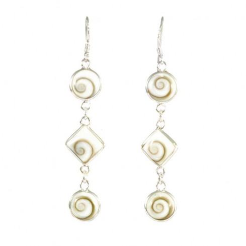 Boucles d'oreilles en argent avec 3 pierres Oeil de Ste Lucie pendantes - BOUCLES ARGENT - Boutique Nirvana