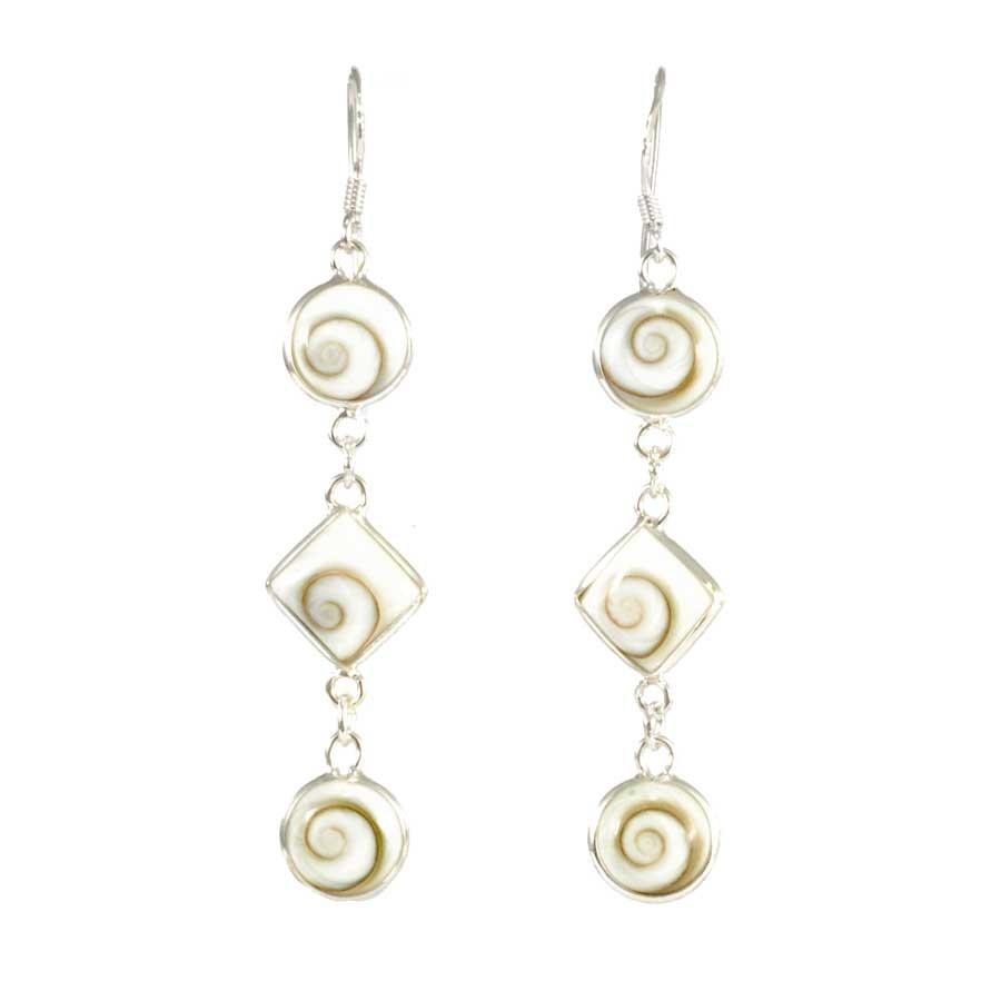 Three Eye of St Lucia Dangle Earrings - SILVER EARRINGS - Boutique Nirvana