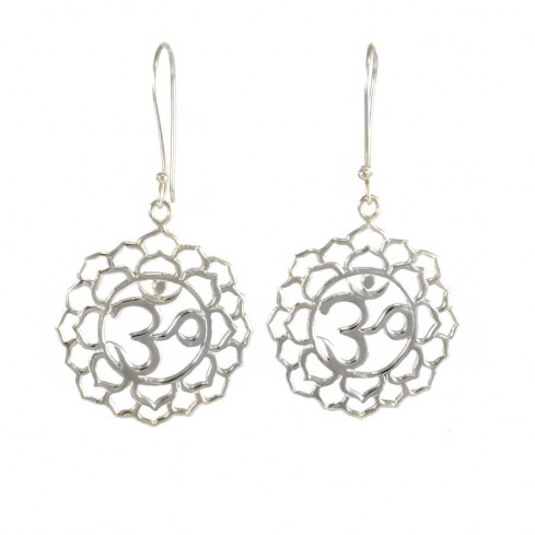 Sterling Silver Om Earrings - SILVER EARRINGS - Boutique Nirvana