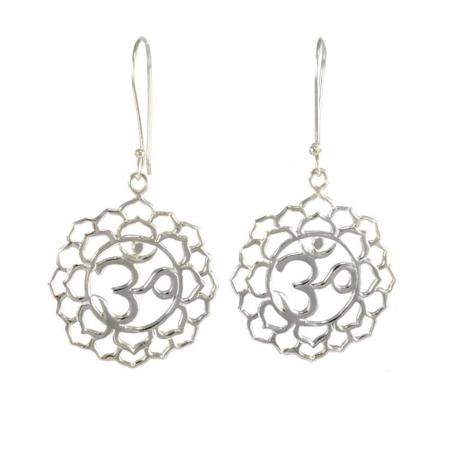 Sterling Silver Om Earrings - SILVER EARRINGS - Boutique Nirvana