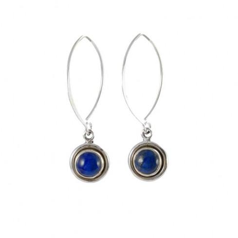 Boucles d'oreilles col de cygne en argent avec pierre ronde pendante - BOUCLES ARGENT - Boutique Nirvana